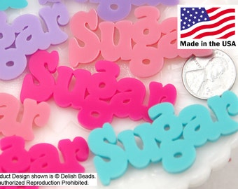 Kawaii Resin Cabochons - 55mm Sugar Pastel Word Letters Acrylic or Flatback Resin Cabochons - Great for Decoden - 4 pc set