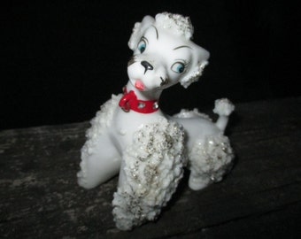 Vintage Lipper Mann White Spaghetti French Poodle--Made in Japan--Lady Poodle Dog--Cottage Chic--Mid Century--Little Girls Room Decor
