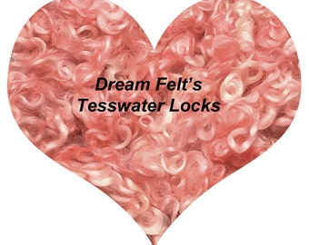 Dream Felt's Beautiful POWDER PUFF PINK Teeswater Locks 1 oz  for Hair, Needle Felting, Wet Felting, Spinning, Doll Hair and more!