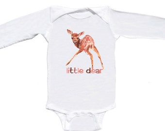 Woodland Baby Girl Bodysuit Little Dear by Mumsy Goose Newborn layettes to Girly Tees Great for  Baby Shower
