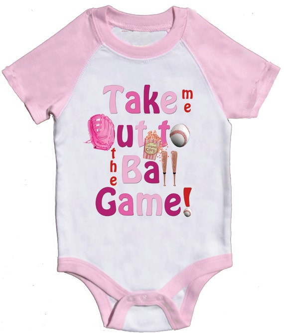 Girl One Piece  Pink Baseball Romper Pink Raglan Baby Body Suit by Mumsy Goose 3M -24M