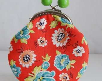 Blossom Reel Large Coin Purse Change Pouch with Metal Kiss Clasp Lock Frame - READY TO SHIP