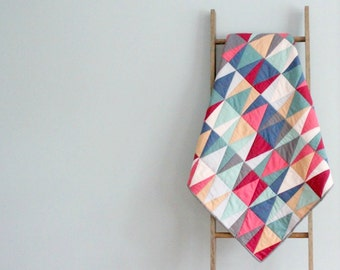 Baby Girl Quilt, Baby Blanket, Crib Quilt, Stroller Blanket - Mirroring Triangles in Pink, Red, Blue, and Gray