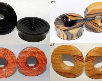 "Custom Wood Plugs, Thick Tunnel Eyelet Examples / Organic Jewelry (3/4"" through 3"" +) (19mm through 76mm +), EXAMPLES of CUSTOM WORK"