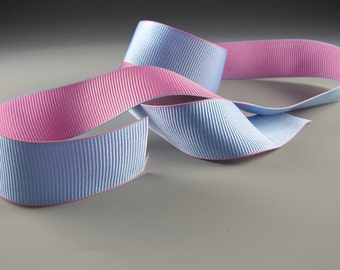 "5/8"" and 1.25""  PINK BLUE Double Faced GROSGRAIN Ribbon Wholesale 20 yards"
