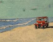 "Unexpected Beachcomber - Original Acrylic Oil Encaustic Landscape Painting - 10"" x 8"""