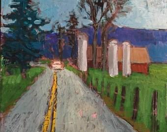 "Maple Syrup Run - Original Acrylic Oil Encaustic Landscape Painting - 8""x 8"""