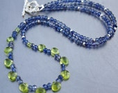 925 Sterling Silver Peridot Briolette Faceted Iolite Toggle clasp Necklace 44cm