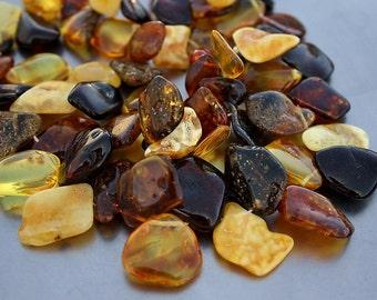 "Genuine Baltic Egg Yolk Honey Cognac Amber from Large Free Form Petal Briolette Nugget Drop Focal Organic Beads 6"" strand"