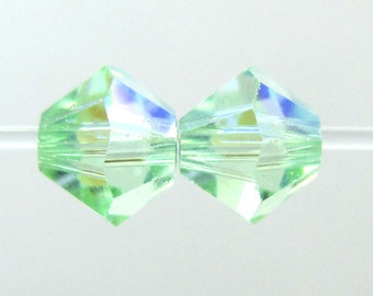 CHRYSOLITE AB 4mm Bicone Swarovski Crystal Beads, Light Green Crystal Bicones, Article 5301/5328 || sku 5301.4.007