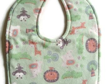 Reversible Flannel Baby Bib - Green and Peach Flannel Bib - Jungle Animals Bib  - Gender Neutral Baby Bib