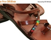 20% OFF Brown Decor Roxy Leather Sandals for Men & Women - Handmade Sandals, Leather Flats, Leather Flip Flops, Brown Unisex Leather Sandals