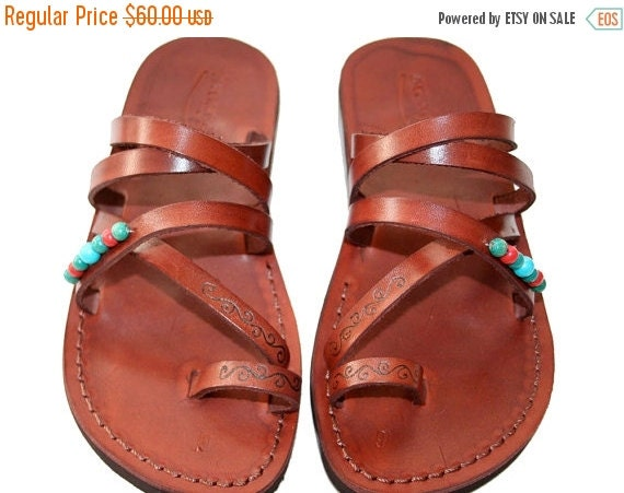 15% OFF Brown Decor Buckle-Free Leather Sandals for Men & Women - Handmade Sandals, Leather Flip Flops, Jesus Sandals, Brown Leather Flat Sa