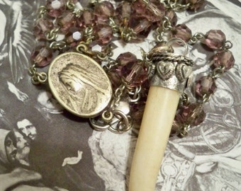Vintage purple rosary chain recycled - Sacred heart of Jesus & Mother Mary medal - Talon / tusk - One of a Kind bycat
