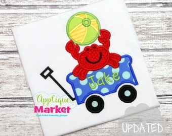 Machine Embroidery Design Applique Crab Wagon INSTANT DOWNLOAD