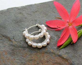 Kiss Kross Hoop Earrings - Pearl and Sterling silver wire hoop earrings