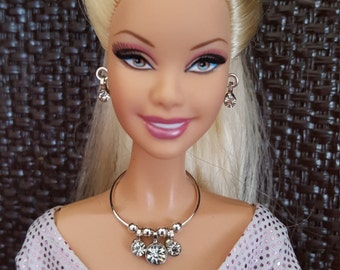 "Crystal Drops Rhinestone  Necklace Earrings Doll Jewelry Set fits 11 1/2 - 12"" 1/6th Scale Fashion Dolls"