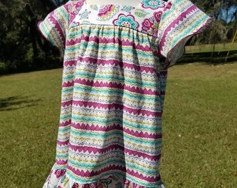 SALE Floral and stripes dress, size 4 girls