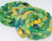Hand dyed combed tops, roving, English Wensleydale, Tussah Silk, handpainted, roving, spin, felt, braid, 100g, British, Colour; Spring Day