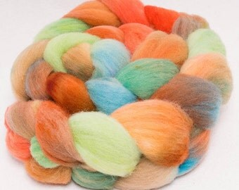 Hand dyed spinning wool, British Southdown wool top, hand painted roving, sock  fibre, spinning fiber, 120g, colour; Devil's Dyke