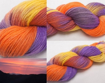 BFL Hand dyed  painted DK  yarn 100g skein knit crochet weave Glee