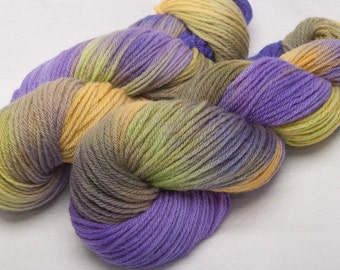 Hand dyed yarn, Bluefaced Leicester,  BFL, wool yarn, Hand painted, Green, DK yarn, Amethyst, 100g,  skein, colour ; Amaranthine