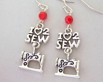 Love to sew earrings, seamstress, sewing machine charm, I love sewing charm earrings, gift for seamstress, sewing gift for her
