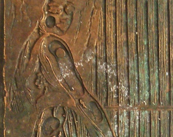 Antique Vintage Letterpress Printing Plate Woman coquettish maybe a Gibson Girl copper