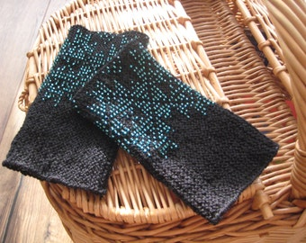 Handknitted traditional lithuanian beaded wrist warmers, star, arm warmers