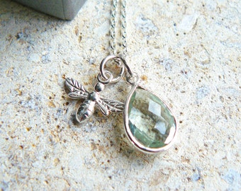 Gemstone And Silver Bee Necklace