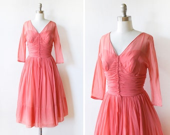 50s chiffon dress, vintage 1950s coral pink chiffon party dress, small