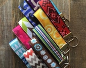 ON SALE Key Fob Wristlet - Key Chain - Fabric Keychain - Fabric Key Fob - Ready To Ship