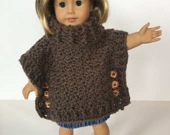 Crochet PATTERN Doll Poncho- Cowl neck - Crochet Pattern Doll Poncho Cowl - Sophia - Matching girl size available