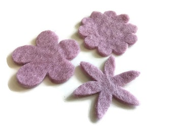 Lilac Felt Flowers - 3 Pure Wool Handmade Embellishments 60mm - Mixed Shapes