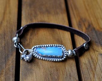 Sterling Silver Opal Bracelet, Australian Opal Leather Bracelet, Oxidised Silver Studded Opal Leather Bracelet