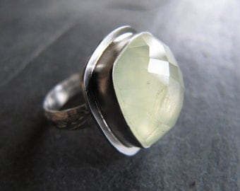 Stunning Faceted Prehnite Ring In Sterling Silver