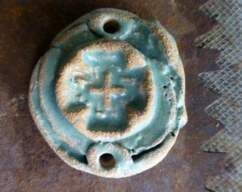 Artisan Celedon Ceramic Clay Pottery Cross Slab Pendant