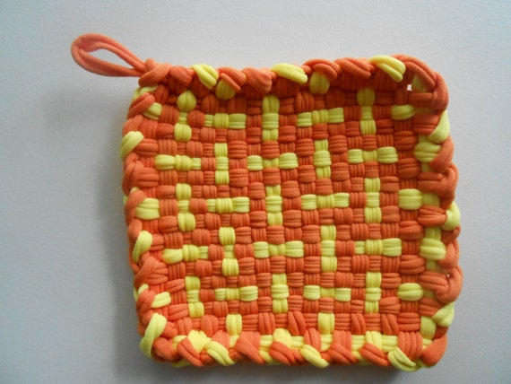 Handmade Woven Pot Holder Orange and Yellow Clearance