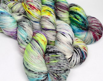 Hand Dyed Speckled Sock Yarn - SW Sock 80/20 - Superwash Merino Nylon - 400 yards - Underground