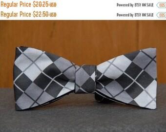 Black, White Gray Argyle  Bow tie