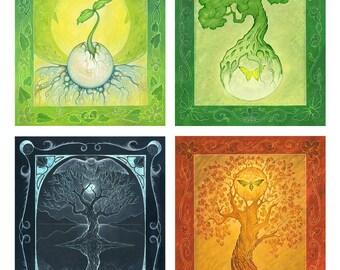 The Four Seasons - 11 x 14 Art Print - Oil Pastel Etchings