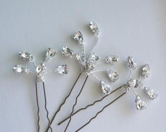 Crystal Bridal Hair Pins, Wedding Hair Pins, Crystal Hair Pins