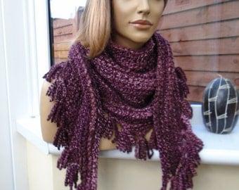 SPRINGY SOFT dusky pink wine burgundy triangle scarf wrap by irish granny