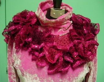 Fushia and Berry Crocheted  Ruffled Scarf with Sequins