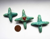 Artisan made primitive ceramic crosses - turquoise  blue and a red heart - set of 3