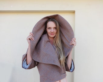 JACKET SHAWL COLLAR/Women's Cropped Warm Wool Wrap for Winter in  Nude and Grey shades