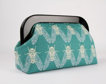 Clutch purse with resin frame - Cicada in teal - Home purse / Cotton and Steel / Rashida Coleman Hale / Blue off white
