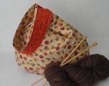 Autumn Japanese knot bag SALE - knitting crochet reversible project bag -  twigs berries acorns fall fabric - free knitting pattern