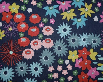 1/2 Yard of Darling Starling Floral Fabric in Navy from Alexander Henry Designs