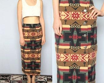 desert campfire -- vintage 80s southwest blanket wrap skirt M